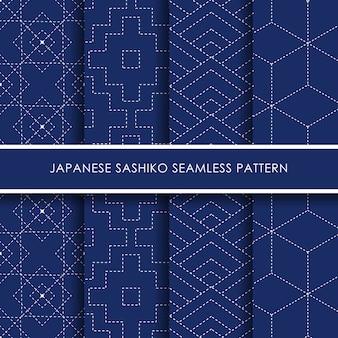 Japanese sashiko seamless pattern  set