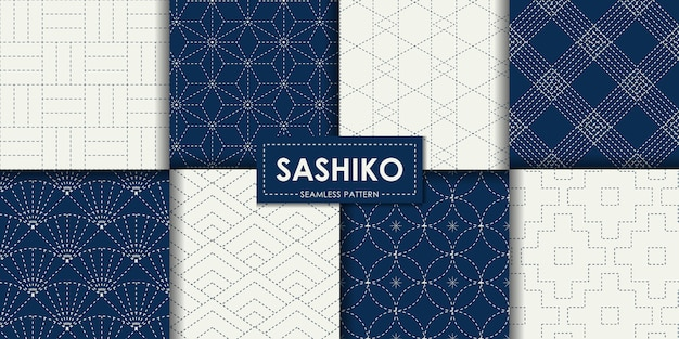 Japanese sashiko seamless pattern vector collection