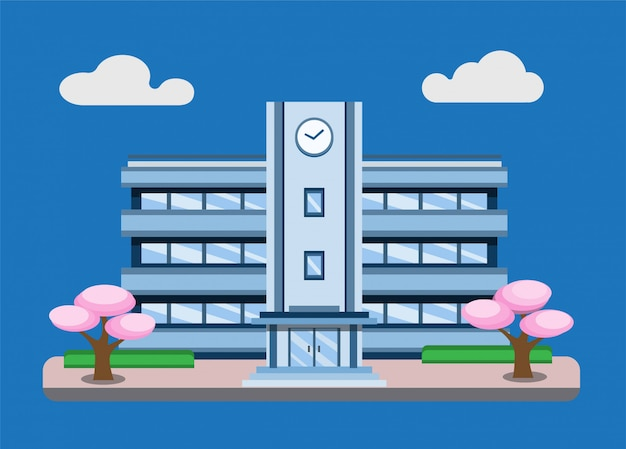 Japanese school building scene background concept in flat illustration editable   isolated