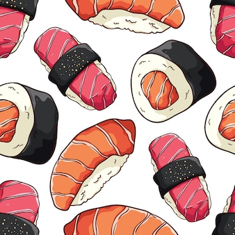 Japanese seafood in seamless pattern