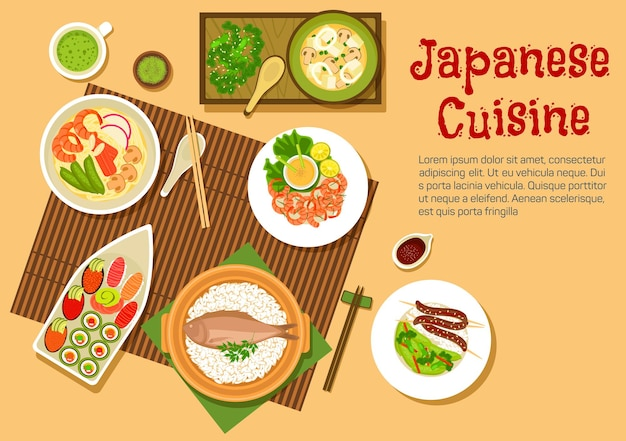 Japanese seafood with variety of sushi with salmon, tuna, red caviar and sashimi with wasabi, noodle soup with shrimps and crab sticks, squid salad, rice with fish and blood sausages, spicy prawns