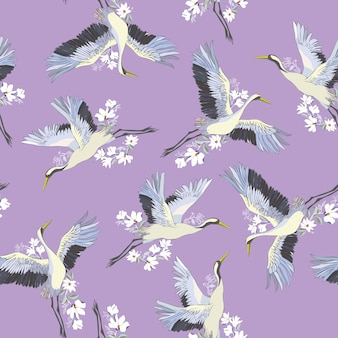 Japanese seamless pattern of birds