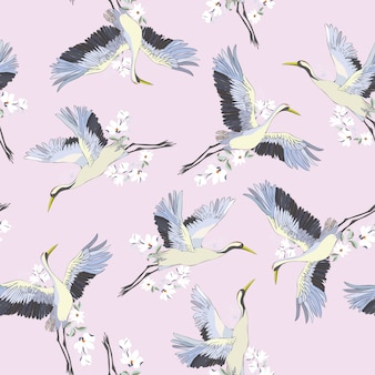 Japanese seamless pattern of birds