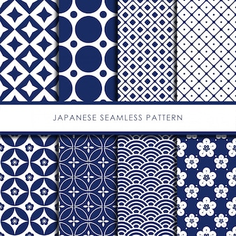 Japanese seamless pattern vector set