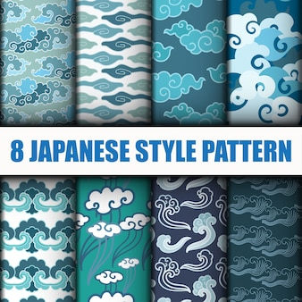 Japanese seamless patterns vector set