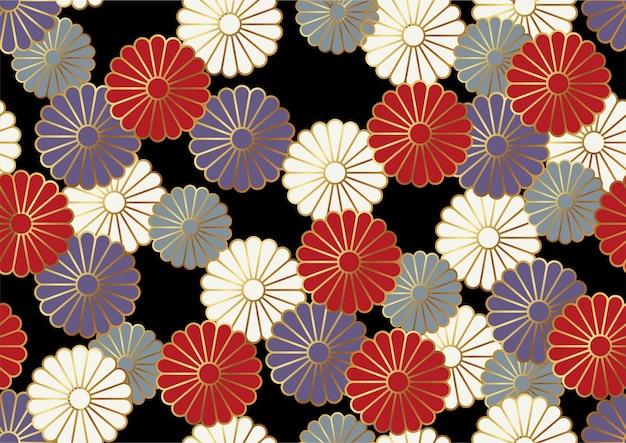 Японский бесшовные векторные старинный образец