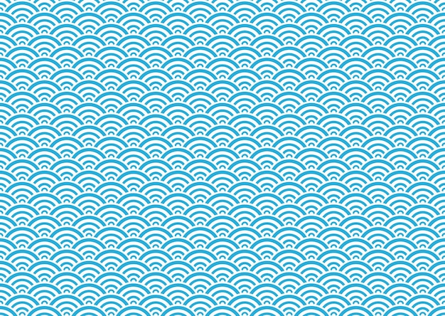 Japanese seamless vector vintage wave pattern