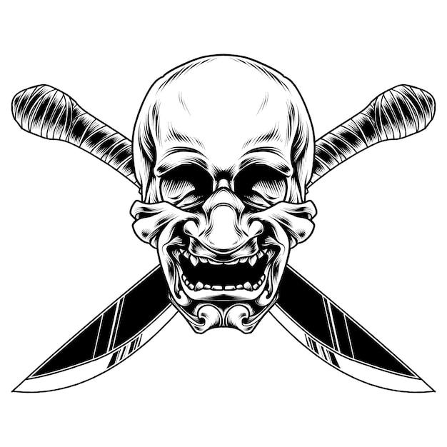 Японский дизайн иллюстрации маски черепа Premium векторы