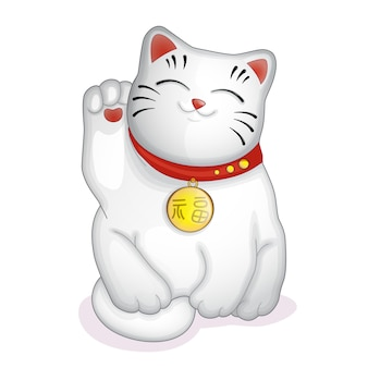 Japanese statuette white cat maneki neko.