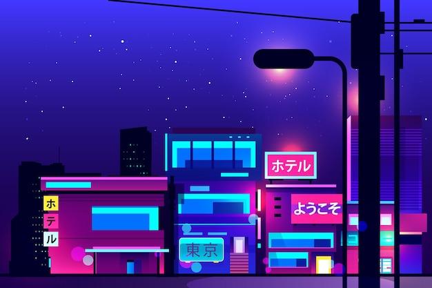 밤에 일본 거리 네온 불빛