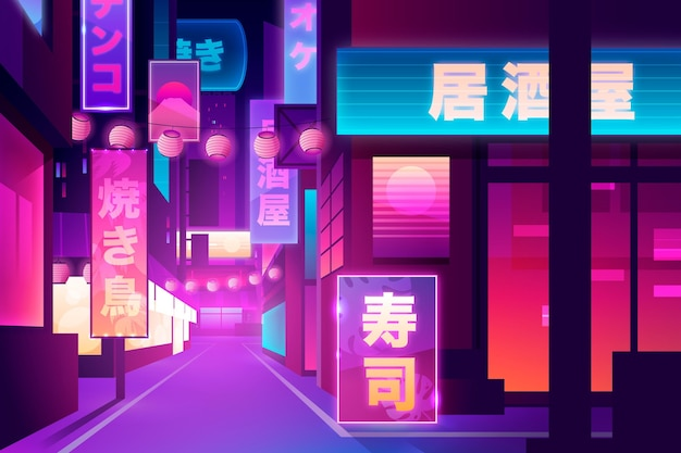 Japanese street in neon lights