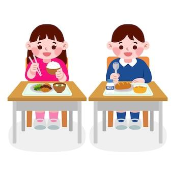 클래스에서 식사하는 일본 학생