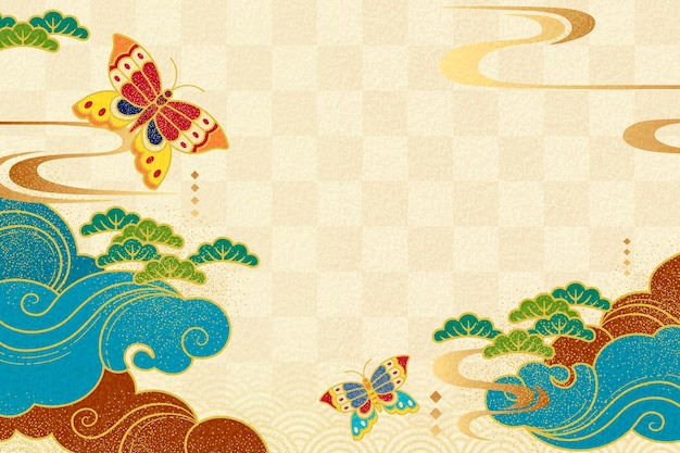 Japanese style background with butterflies and clouds on beige tone