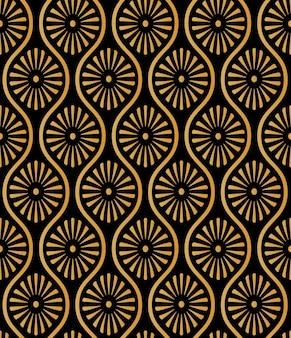 和風ゴールデンシームレスパターン背景画像楕円形カーブクロスフレームデイジーフラワー