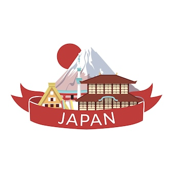 Japanese style objects, accessories  places interest banner. traditional japan.