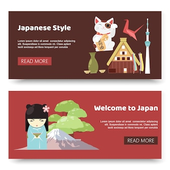 Japanese style objects, souvenirs accessories set banners.