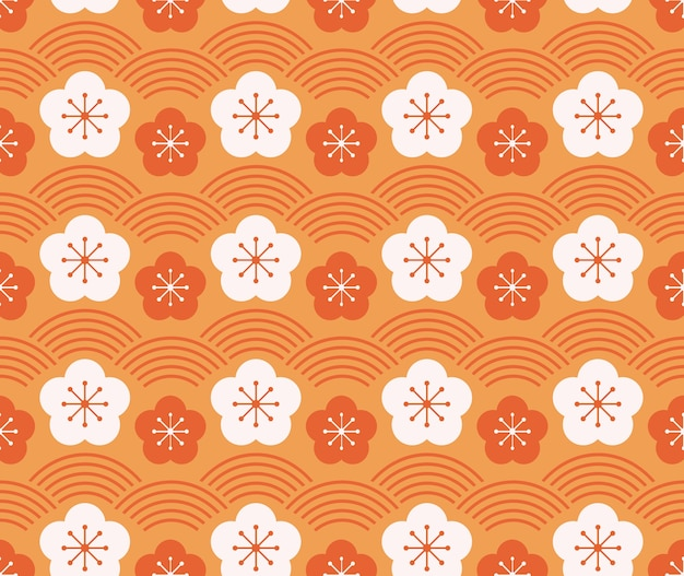 Japanese style retro vintage seamless pattern plum flower and wave line