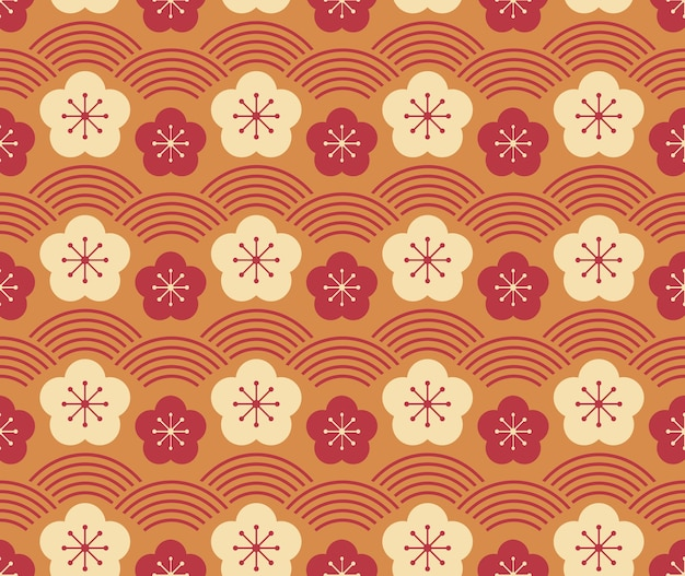 Japanese style retro vintage seamless pattern plum flower and wave scale line