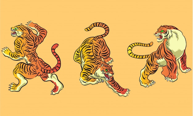 Japanese style tiger vector set