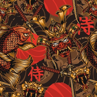 Japanese style vintage seamless pattern with samurai mask in helmet koi fish angry snake head crossed katanas
