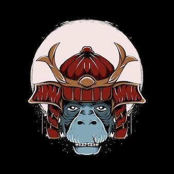 Japanese style warrior monkey with moon illustration