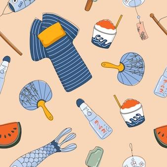 Japanese summer essential seamless patterns