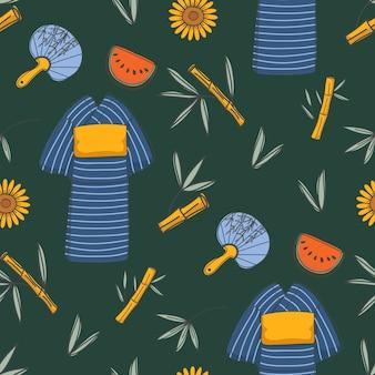 Japanese summer green background seamless patterns