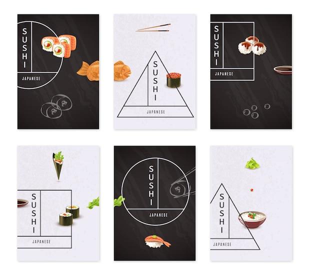 Japanese sushi banner set