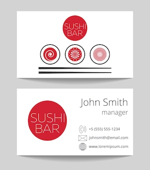 Japanese sushi bar business card both sides
