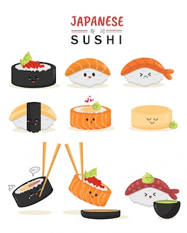 新鮮な魚のマグロと日本の寿司文字セット漫画似顔絵顔文字式