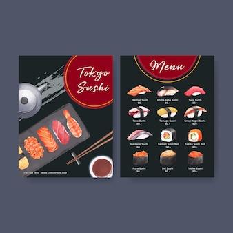 レストランのメニューのための日本の寿司コレクション。