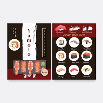 Japanese sushi collection for restaurant menu.