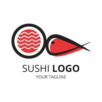 Japanese sushi food logo design vector