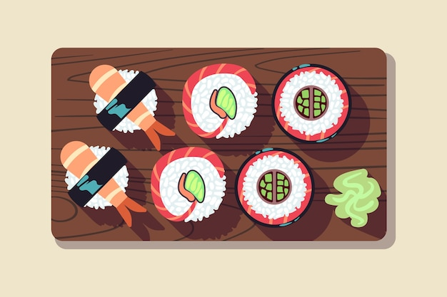 Japanese sushi over a plate vector illustration