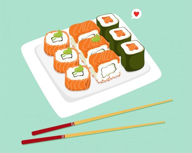 Japanese sushi rolls on a dish.  illustration