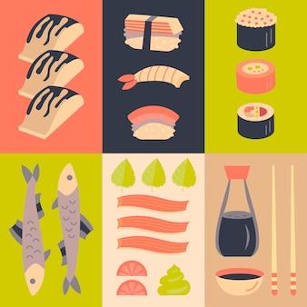Japanese sushi and sashimi background