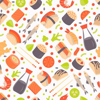 Japanese sushi and sashimi seamless pattern.