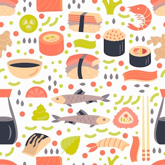 Japanese sushi and sashimi seamless pattern.
