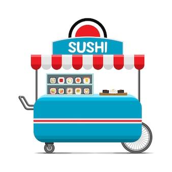 일본 스시 길거리 음식 카트. 프리미엄 벡터