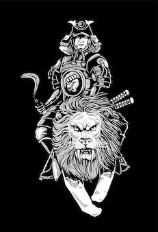 戦いのためにライオンに乗る日本刀の男