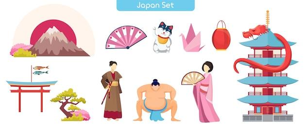 日本のシンボルフラットベクトルイラスト。富士山、招き猫、塔構図の寺院。力士と芸者がいる厳島神社。