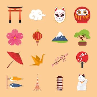 日本のシンボルアイコンセットデザイン