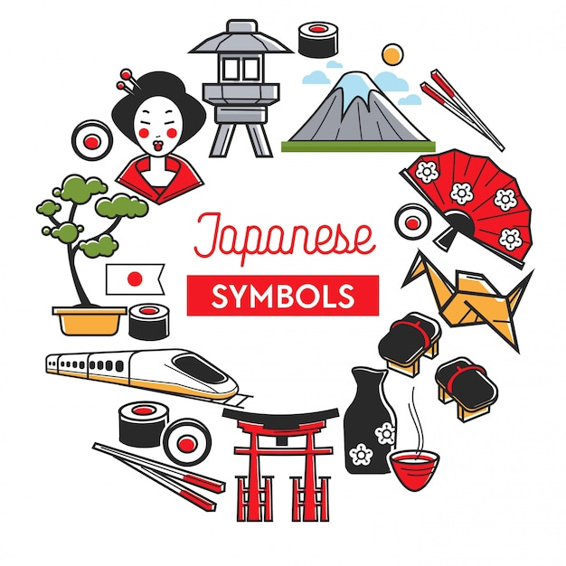 Japanese symbols promo banner with traditional famous attractions
