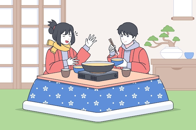 Японцы разговаривают и едят за столом