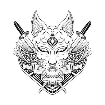 日本の入れ墨怒っている暗いスフィンクス猫線画黒と白の彫刻スタイル