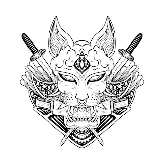 Japanese tattoo angry dark sphinx cat line art black and white engraving style