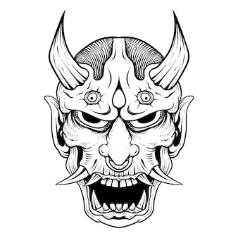 일본 문신 라인 아트 한야 오니 마스크 흑백