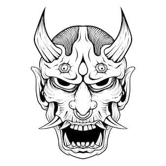 Japanese tattoo line art hanya oni mask black and white