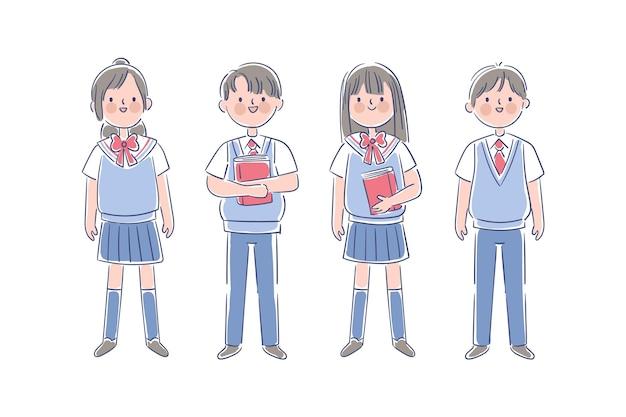 日本の制服を着た10代の学生