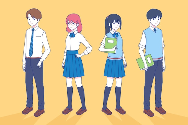 Japanese teenagers students in manga style